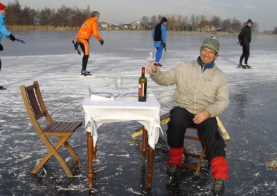 Rob van Leeuwen,  op het ijs van de Purmer Ee